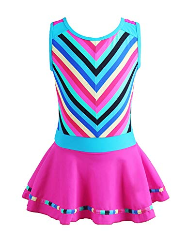 MOREMOO Girls Beach Dress Swimwear One Piece Swimsuit Stripes Bathing Suit(Rose 8-9/Tag Size XL)