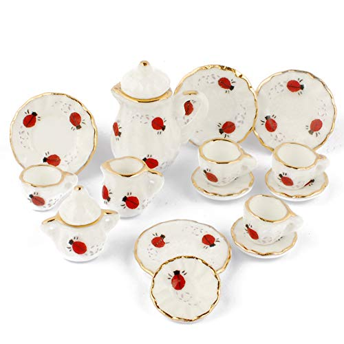 (NW 1 Set 15 Pieces Lovely Ladybugs Ceramics Tea Cup Set Lovely Dollhouse Decoration Set Dollhouse Kitchen Accessories)