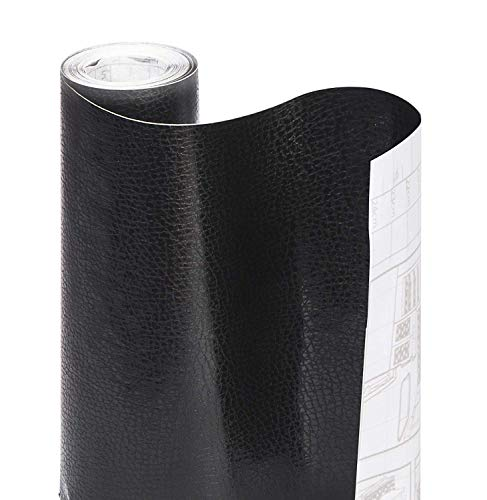 Smart Design Shelf Liner w/Faux Leather Adhesive - Wipes Clean - Cutable & Removable Material - Easy Peel Design - for Shelves, Drawers, Flat Surfaces - Kitchen (18 Inch x 15 Feet) [Black]