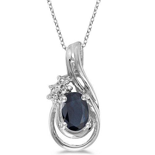 Diamond Blue Sapphire Teardrop Pendant - 9