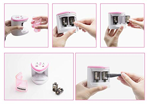 Electric Pencil Sharpener,Heavy Duty Battery Operated Automatic Pencil Sharpener manual for Office School Classroom Kids Artists,Cute Best Handheld Portable Cordless for No.2 and Colored Pencils(Pink) Photo #5