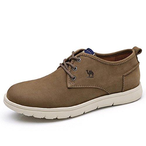 Camel Hombres Casual Breathable Low Top Cordones Antideslizantes Zapatos De Cuero Color Caqui