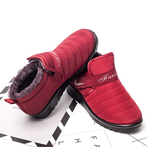 Pelliccia Pelliccia Pelliccia Donna in Impermeabili per Colore Stivali EU 36 Velcro Velcro Velcro Velcro con Gaslinyuan Stivali Rosso Dimensione acTUAgU
