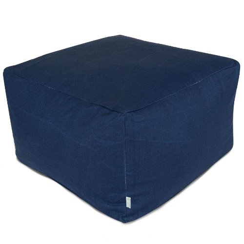 Majestic Home Goods Navy Blue Solid Ottoman, Large