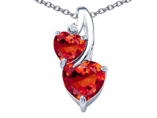 Star K 8mm Heart Shape Simulated Mexican Orange Fire Opal Double Hearts Pendant Necklace Sterling Silver