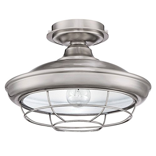 Designers Impressions Charleston Satin Nickel Semi-Flush Mount Ceiling Light Fixture: 10003 - Charleston Ceiling Fixtures