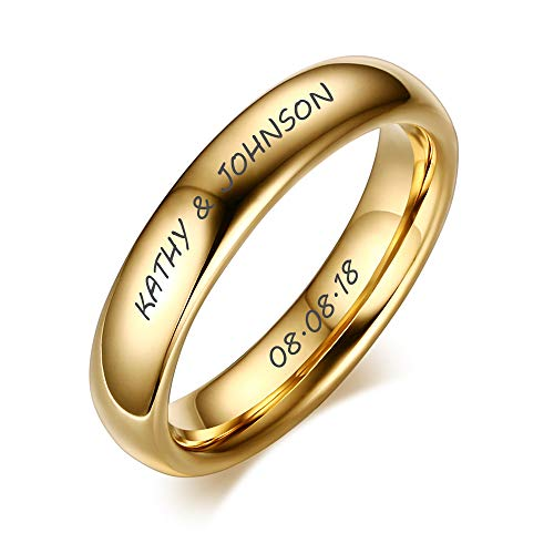 MEALGUET Personalized Custom Engrave Couples His & Hers Gold Plated Domed Polished Plain Tungsten Wedding Ring Band for Men & Women,Size 14