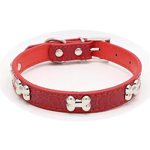 - crazy-shop for Cat Dog Collar Reflective Metal Bone Decoration Dog Belt Leash Pattern Litter Dogs,2,XS 30-1.5CM