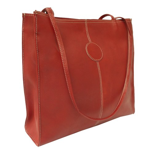 Piel Leather Medium Market Bag, Red, One Size by Piel Leather