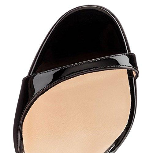 ELASHE Women High Heels Sandals | Cut Out Pumps | Peep Toe Stiletto | 12cm Elegante Sandals Black-beige p0XDqwLb