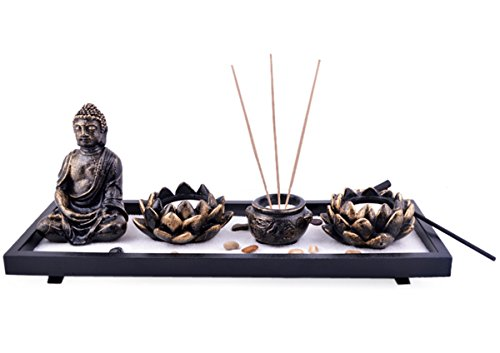 Feng Shui Zen Garden Sand Buddha Rocks Lotus Incense Burner W Fengshuisale Red String Bracelet - Feng Shui Garden