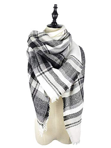 Women's Fall Winter Scarf Classic Tassel Plaid Scarf Warm Soft Chunky Large Blanket Wrap Shawl Scarves Black White ()
