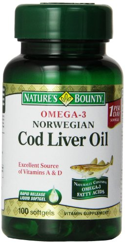 Bounty oméga-3 Norwegian Cod Liver Oil, 100 gélules de Nature