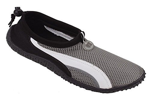 Nuovo Uomo Slip On Water Pool Beach Shoes Aqua Socks (12, Blue 5908) Grigio