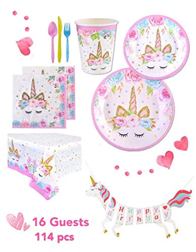 Unicorn Party Supplies Kit High Quality Serves 16 Guests, includes a Table Cover, a Unicorn Banner, Cute Cups, Colorful Cutlery, 2-set Plates. Perfect to host a Special Birthday Party for Your Girl