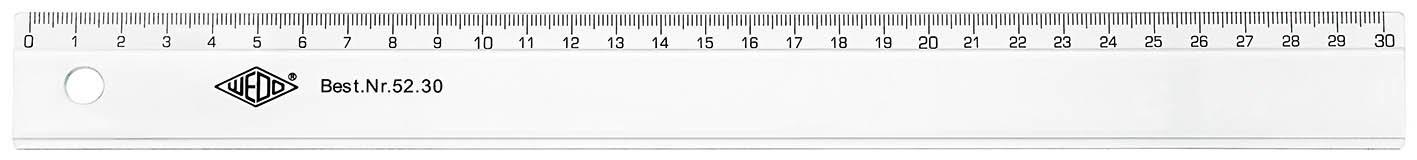 Wedo 5216 Lineal 16 cm, Tuschkante, geprägte Zentimeter Einteilung, Kunststoff, transparent Werner Dorsch GmbH SC-MS-52 16