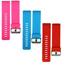bayite Accessories Silicone Watch Bands for Fitbit Blaze Orangered, Azure and Pink Large Pack of 3