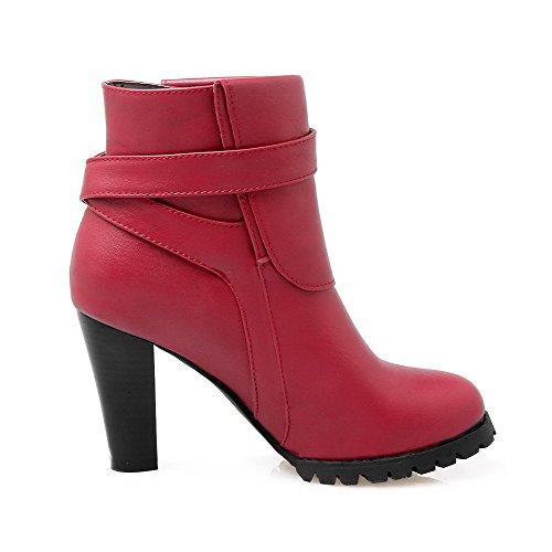 AllhqFashion Damen Niedrig-Spitze Ziehen auf Hoher Absatz Rund Zehe Stiefel, Rot, 33