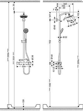 5 Strahlarten hansgrohe Croma 220 Air Duschsystem chrom