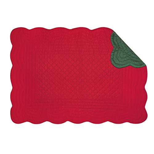 Set of 4 Pcs, 13x19 Inches Quilted Scallop Placemats, Red & - Placemat Red Green