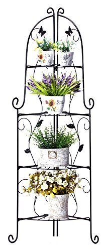 Worth 4-Tier Corner Shelf & Plant Stand - Black with Butterfly Ivy | Modern Indoor & Outdoor Home Décor Garden