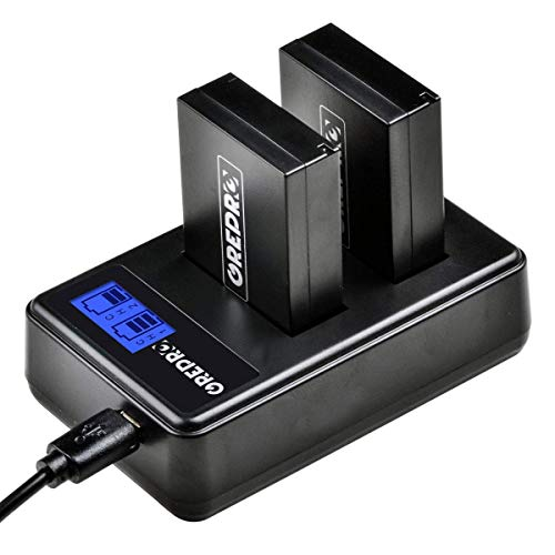 Grepro LP-E12 LCD Display Dual USB Camcorder Battery Chargers and 2-Pack Batteries 100% Compatible for EOS M50, EOS M100, EOS M10, EOS Rebel SL1, EOS 100D, EOS M2, Canon EOS M