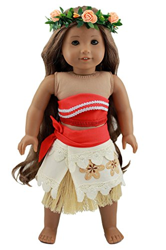 Wesen 18 Inch Doll Clothes Moana Costume outfits Fits