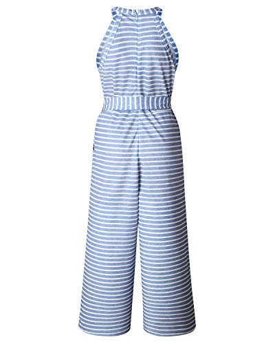 AELSON Women Sleeveless Striped Jumpsuits Waist Belted Wide Leg Pants Romper with Pockets by AELSON (Image #5)