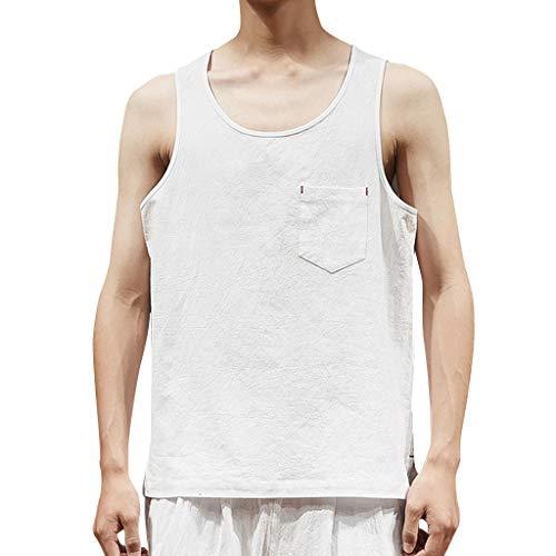 [해외]스 캐 드 mlxg 남자의 여름 캐주얼 느슨한 패션 순수 컬러 간단한 코 튼 리넨 민소매 스포츠 조끼 기본 탑 블라우스 / Bsjmlxg Men`s Summer Casual Loose Fashion Pure Color Simple Cotton Linen Sleeveless Sport Vest Basic Top Blouse