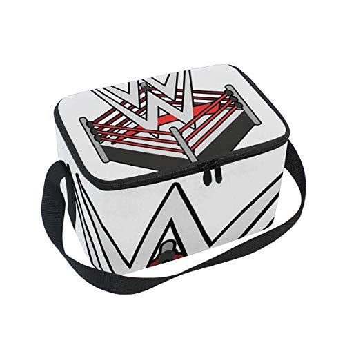 - Lunch Bag Cooler Tote Bag WWE Ring Logo Lunchbox Meal Prep Handbag for Picnic School Women Men Kids