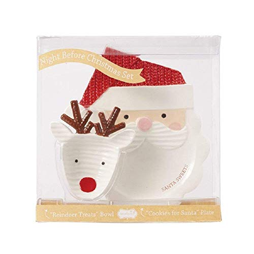 Night Before Christmas Santa & Reindeer Plate and Bowl Set
