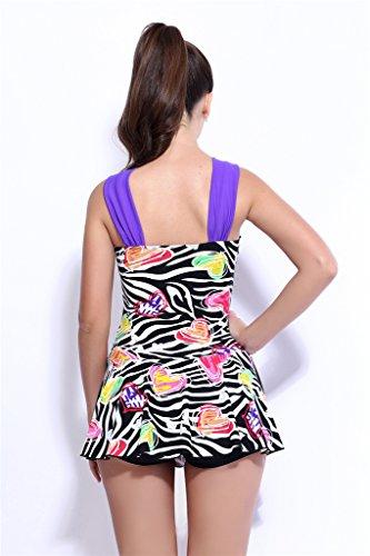 Fortuning's JDS Las señoras con falda acolchada imprimen una sola pieza traje de baño ropa de playa con fondo boyshort púrpura