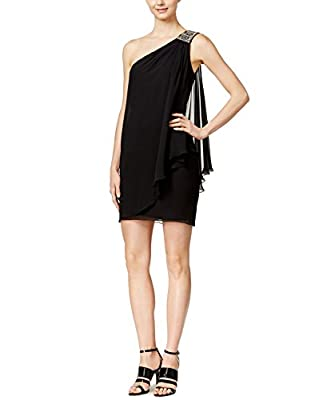 Calvin Klein Women's One Shoulder Draped Dress Black 6