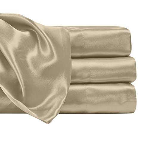 Satin Radiance 204 2SS Luxury Charmeuse Satin Sheet Set with Deep Fitting Pockets, 4 Piece Sheet ...
