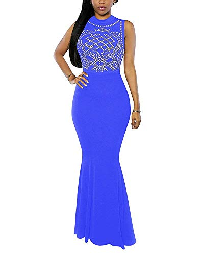Dimensione X colore Senza Vita Da Alta Sirena Cai large Donna Fuweiencore Abito Abiti Blue In Blue Cocktail Maniche H4ZxPw6q