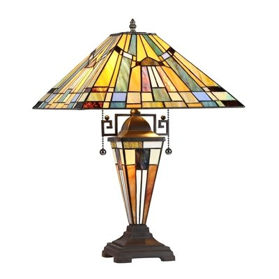 KINSEY, Tiffany-style 3 Light Mission Double Lit Table Lamp 16