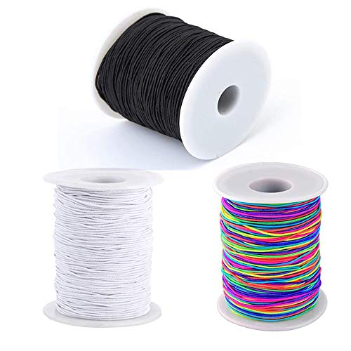 Yeoubi 100m Rainbow/White/Black 3 Color Elastic Cord Beading Thread Stretch String Craft Cord DIY Cord, 1mm by Yeoubi