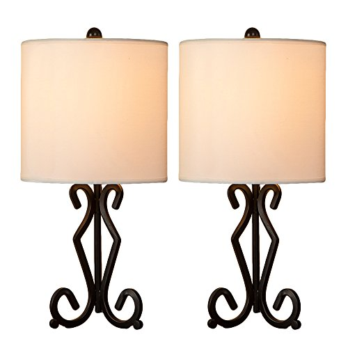 GLANZHAUS Fashion Designed Set of Two Bronze Iron Scrollwork Base White Fabric Shade Bedside Table Lamps, 16.9