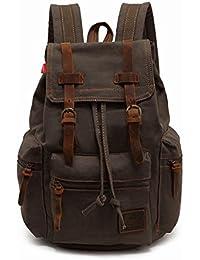 Large Vintage Canvas Leather Backpack 15.6 inch Laptop Rucksack Bookbag Satchel Hiking Bag