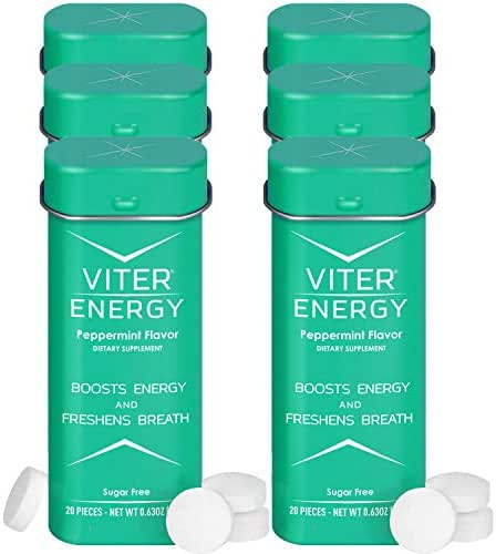 Viter Energy Caffeinated Mints - 40mg Caffeine & B-Vitamins Per Powerful Sugar Free Mint. Boost Energy, Focus & Fresh Breath. 2 Pieces Replace 1 Coffee (Peppermint, 6-Pack)