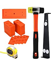 Laminate Flooring Installation Tool Kit, Jouhin 44 Pieces Flooring Tools with 40 Spacers, Fiberglass Handle Mallet, Tapping Block, 16.4Ft/5m Tap Measure, and Heavy Duty Pull Bar
