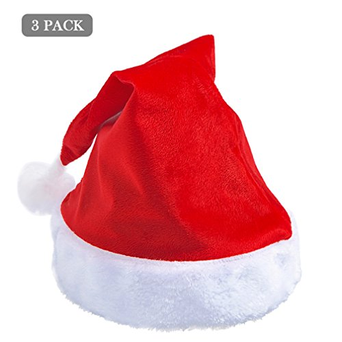 Garden Party Theme Costume (3 Pack Plush Santa Claus Cap Hat Christmas Holiday Party Costume Hat for Adult Kids)
