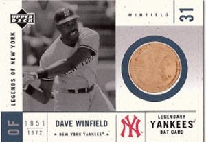 2001 UD Legends of NY #LYB-DW DAVE WINFIELD Bat card
