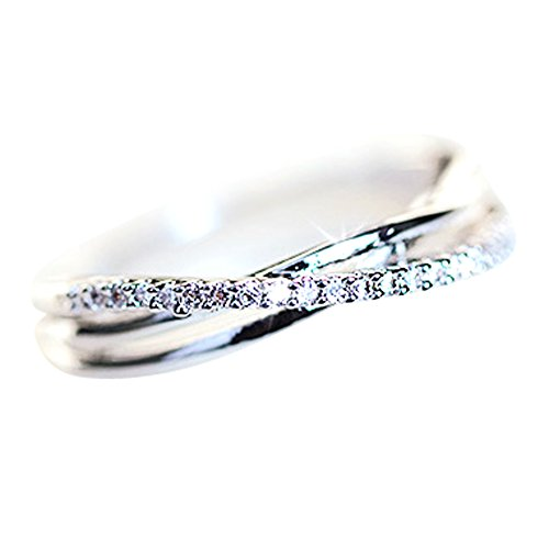 14K Dainty and Delicate Triple Cord Single Pave Cubic Zirconia CZ Crystal Pave Band Intertwined Ring for Women - White Gold Plated Size 7