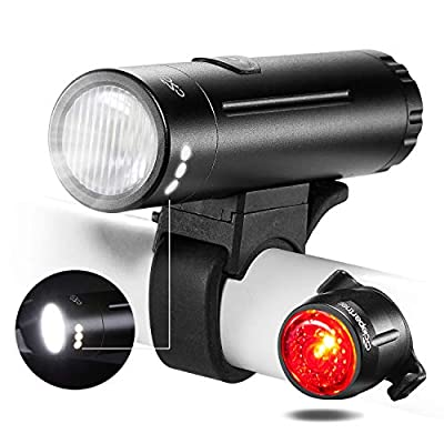 UGOE NB11-06 USB Rechargeable Bike Light SET – 500 Lumens LED Headlight, FREE USB Bicycle Taillight– High Quality Lights with Quick-release, Easy To Install for Kids Men Women, Water-resistant
