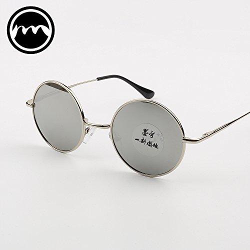 Face sol de Box Gafas Silver Mirror polarizadas de sol VVIIYJ Myopia silver Black Black frame redondas Male Mirror Prince mirror Glasses Gafas Female EqW64wav
