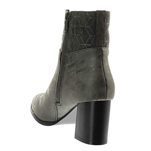 Cavalier Haut Chic Bi Mode 7 matière Bloc Angkorly Femme Fourrée Légèrement Intérieur Bottine Moderne Cm Gris Talon Perforée Chaussure wPqA4A