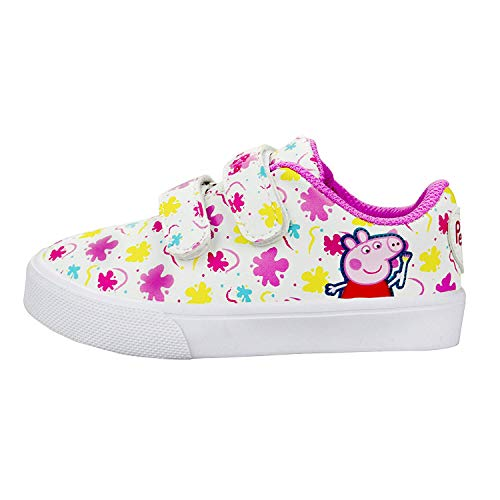 Peppa Pig Girls Low Top Double Strap Casual Sneakers, Size 8 Pink (Pig Peppa Toddler Shoes)