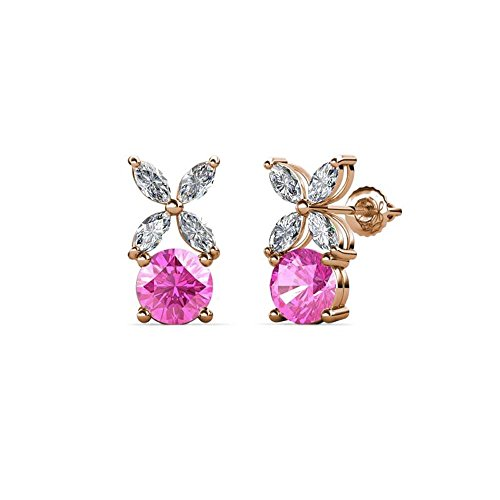 Floral Pink Sapphire Earrings - Round Cut Created Pink Sapphire & White Sapphire Floral Stud Earrings 14k Rose Gold Over .925 Sterling Silver