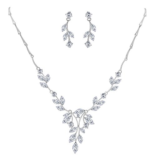 (LILIE&WHITE Cubic Zircon Necklace and Earrings Jewelry Set for Bride Wedding Prom Bridesmaids)